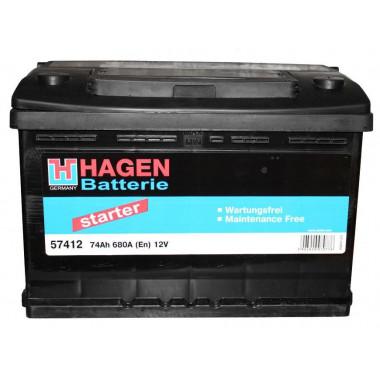 Автомобильный аккумулятор Hagen 57412 (74 А/ч)